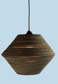 Due to the corrugated cardboard the light gently comes through Karton Design, Ceiling Lights, Lighting, Pendant, Van, Beautiful, Home Decor, Decoration Home, Room Decor