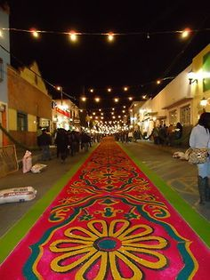 "14 de Agosto ""La noche que Nadie Duerme""  Huamantla, Tlaxcala, México. Tapetes elaborados con flores sobre las calles."