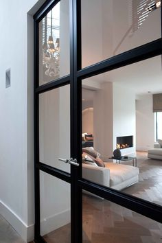 modern black glass door