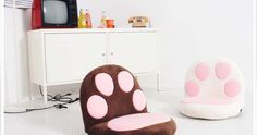 Blooming Home, 14steps, Reclinable, Floor Chair, Cute, Cat, Paws, Soft, Suede, Cushioning,sofa,couch,bed,sleeping,watching,livingroom,home,furniture,interior,design