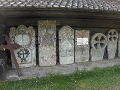 Heidal church - Beautiful old tombstones - on display - protected from the elements