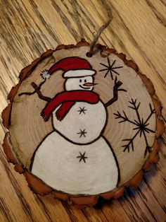 Rustic snowman wood burned Christmas ornament
