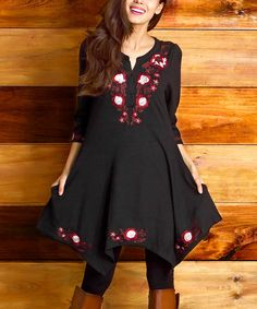 Look what I found on #zulily! Black Embroidered Floral Notch Neck Handkerchief Tunic by Reborn Collection #zulilyfinds