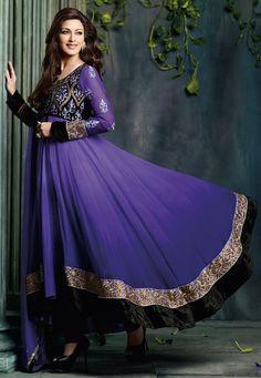 Shaded Purple Faux Georgette Anarkali Churidar Kameez @ $105.11