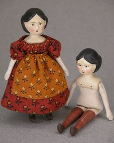 """Papier mache Greiner doll (3-1/2"""" tall) by Gail Wilson.  Her name is Hitty."""
