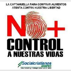 Banner de rechazo al sistema biometrico en Venezuela. (fuente: SOS Despierta Vzla @ArgenisS_Vzla) Agosto, 2014.
