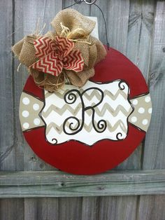 Christmas Ornament Door Hanger with Initial by CurlyQsCreation Christmas Door, Christmas Signs, Christmas Projects, All Things Christmas, Winter Christmas, Christmas Holidays, Christmas Wreaths, Christmas Decorations, Christmas Ornaments