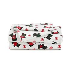 On Clearance for $24.99! LivingQuarters Heavy-Weight Scottie Dogs Flannel Sheet Set at www.bonton.com