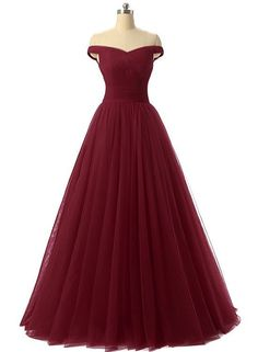 simple burgundy tulle long prom dress shop here