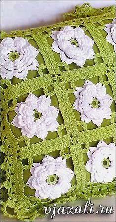 Grace y todo en Crochet: Cushions with White Roses .Cojines con Rosas B. Crochet Cushion Cover, Crochet Pillow Pattern, Crochet Motifs, Crochet Cushions, Crochet Blocks, Crochet Squares, Crochet Granny, Crochet Doilies, Crochet Lace