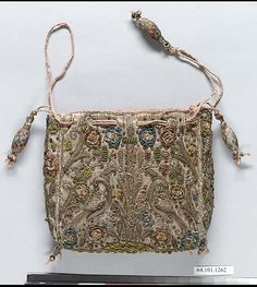 Purse Date: first quarter 17th century Culture: British Medium: Silk and metal thread on canvas Accession Number: 64.101.1262