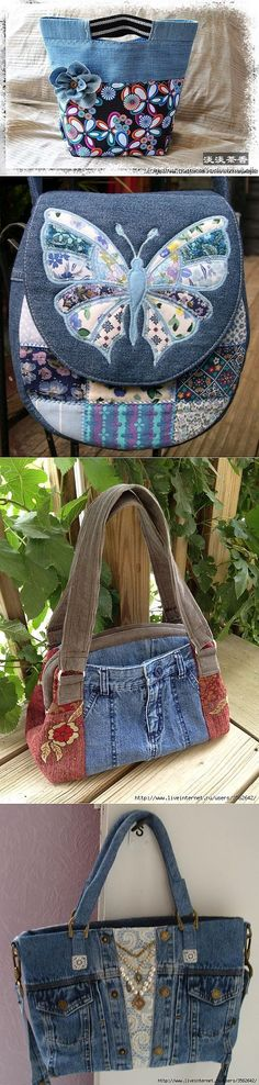 A Butterfly Denim Bag! Patchwork Bags, Quilted Bag, Patchwork Quilting, Quilts, Jean Purses, Purses And Bags, Bag Quilt, Denim Purse, Jeans Denim