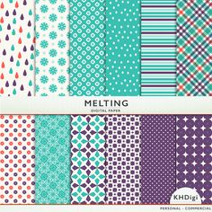 Melting Digital Paper in pretty purple and teal blue with orange touches.