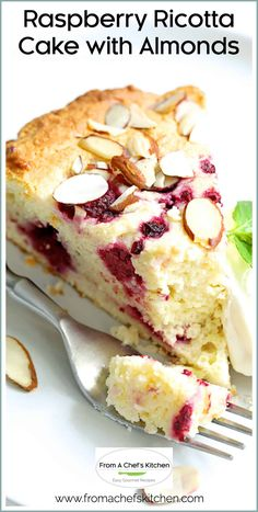 Raspberry Ricotta Cake with Almonds is moist fluffy and super easy to make! It's perfect for dessert in the evening or with coffee in the morning! Italian Desserts, Köstliche Desserts, Delicious Desserts, Italian Foods, Italian Cookies, Italian Ricotta Cookies, Plated Desserts, Raspberry Ricotta Cake, Ricotta Dessert