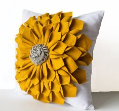 Felt Flower Pillow Cover -Mustard Gray White Pillow Case -Floral Decorative Pillow -Gift -16x16 -Anniversary -Wedding -Housewarming -Dorm