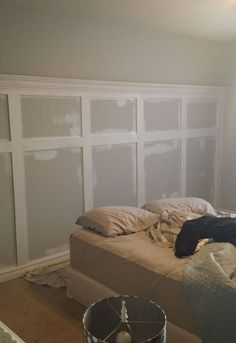 bedroom board and batten wall, bedroom ideas, diy, wall decor, Priming the pieces before paint