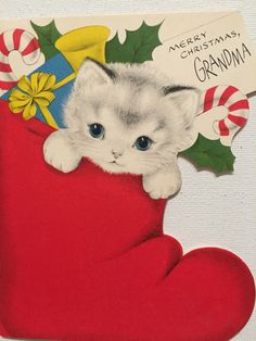 "A personal favorite from my Etsy shop <a href=""https://www.etsy.com/listing/477236085/vintage-christmas-card-kitten-nos-unused"" rel=""nofollow"" target=""_blank"">www.etsy.com/...</a>"
