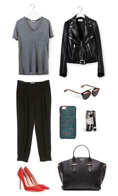 """""""Touch"""" by lilsgrey ❤ liked on Polyvore featuring moda, T By Alexander Wang, Alexander McQueen, Yves Saint Laurent, Gianvito Rossi, Diane Von Furstenberg ve Coach"""