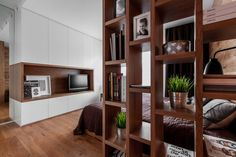 multifunctional family house by modelina bedroom bookcase Minimalist Architecture, Modern Architecture, Bedroom Bookcase, Simple House Design, Cozy Apartment, Cuisines Design, Tiny Living, Modern Interior Design, Home And Family