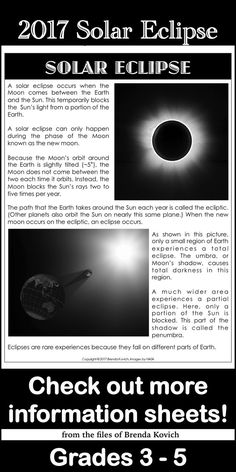 Get ready for the solar eclipse! Check out this free resource and more at enjoy-teaching.com.