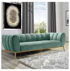 Modern Green Velvet Upholstered Sofa 3 Seater Sofa Vertical Channel Tufting Sofa Gold Stainless Steel Base #tufted #sofa #tuftedsofa Modern Style: Vertical channel accent tufting pairs seamlessly with green tone and gold accent for an upscale, modern look. Steady Support: With a solid wood frame, gold metal trim and base, this three seater sofa provides exceptional support and stability. Great Comfort: Velvet upholstery and foam fillers provide a soft touch and adequate comfort. Three… Sofa Bed Design, Living Room Sofa Design, Home Room Design, Living Room Designs, Living Room Decor, Sofa Furniture, Luxury Furniture, Furniture Design, Living Room Furniture