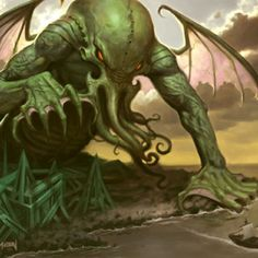 """Cthulhu first appeared in the short story by H. Lovecraft entitled """"The Call Of Cthulhu"""". His name has been used to describe. H.p. Lovecraft, Lovecraft Cthulhu, Art Cthulhu, Call Of Cthulhu, Dragons, Lovecraftian Horror, Creepy Pictures, Marvel, Old Ones"""