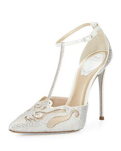 S0CLR Rene Caovilla Crystal-Embellished T-Strap Evening Pump, White