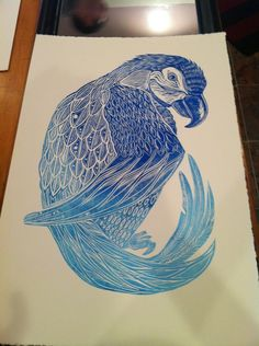 This is a linocut parrot that i hand printed in 2013. The print measures 15x22 and is printed on archival acid free stonehenge paper.    This print by laurakmurdoch