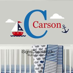 Sailboat wall decal, fully customizable in your choice of colors and name.