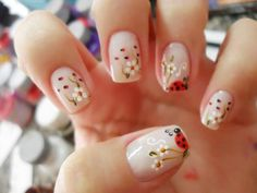 We have gathered here for you some 42 cute ladybug nail art designs that you can go through and choose the best design for yourself. Colorful Nail Art, Trendy Nail Art, Cute Nail Art, Cute Nails, My Nails, Spring Nail Art, Spring Nails, Summer Nails, Nail Art Mignon