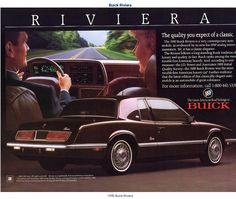 1990 Buick Riviera Retro Cars, Vintage Cars, Buick Cars, Buick Electra, Car Brochure, Buick Riviera, Car Advertising, Us Cars, Old Ads