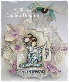 """handmade card ... shabby chic ... watercolor with Distress Reinkers ... shaped card with die cuts ... loads of lace and luxurious details ... Geisha Girl """"Aimi"""" With Lantern ... definitely a WOW!! card to display ... Lili of the Valley stamps ..."""