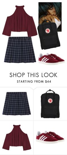 """Pleaty Princess 👗"" by sapphire-stone ❤ liked on Polyvore featuring Fjällräven, W118 by Walter Baker, adidas, Dark, pleat and grid"