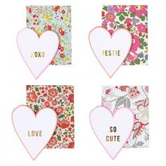 Meri Meri Liberty Love Notes For Your Valentine   Stylish Gift Stationery   Luxury UK Party Shop