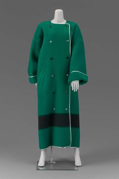 Woman's coat | United States, Fall 1984 | Designed by Geoffrey Beene (American, 1927-2004) | Bright green double-faced fulled wool 'Hudson Blanket' coat with black horizontal stripe; double-breasted and piped in silver | Museum of Fine Arts, Boston