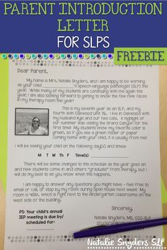 SLPs, start your school year off on the right foot with this FREE and EDITABLE parent introduction letter from Natalie Snyders!