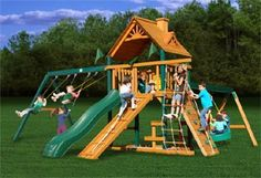 Gorilla Playsets Frontier Wooden Swing Set with Timber Shield Posts, Rock Climbing Wall, Slide and Tire Swing