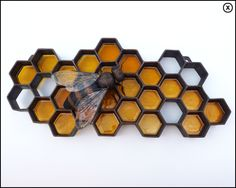 "MaronPot - Metal  honeybee/honeycomb - The honeycomb is 30"" wide, the bee is 8"" long. Formed copper  and cast polyester resin."