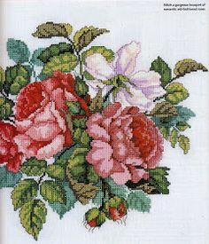 ♥Meus Gráficos De Ponto Cruz♥: Quadros: Buquês de Rosas em Ponto Cruz
