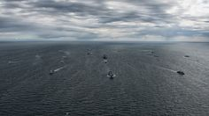 160610-O-ZZ999-007 BALTIC SEA (June 10, 2016) BALTOPS 2016 participants steam in formation during a photo exercise June 10, 2016. BALTOPS is an annual recurring multinational exercise designed to improve interoperability, enhance flexibility and demonstrate the resolve of allied and partner nations to defend the Baltic region. (Photo by France Air Force Warrant Officer Cedric Artigues/Released)