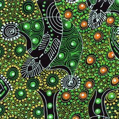 Dancing Spirit Australian Green Quilting Sewing Fabric M & S TEXTILES