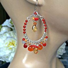 Colorful Chandelier Earrings Luxury Gemstone by DoolittleJewelry