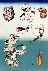 "By Kuniyoshi Utagawa Cat calligraphy ""Katsuwo (tuna)"" 歌川国芳「かつを」"