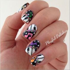 I am unfolding amazing music nail art designs, ideas & trends of I hope you would love the collection. Music Note Nails, Music Nail Art, Music Nails, Piano Nails, Art Music, Nail Designs Pictures, Cute Nail Designs, Love Nails, Pretty Nails