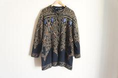 Vintage Wool Cardigan with flower embroidery by ValleyDollsVintage