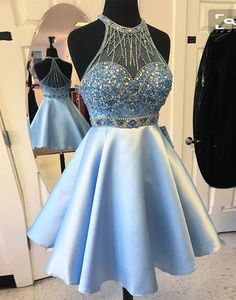Blue O-neck beaded sequins special high quality short knee-length Prom Dresses Gown,cheap homecoming prom gown BD1705550
