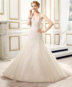 Val Stefani Bridal Spring 2015 Style Eliza - strapless fit-and-flare sweetheart neckline wedding gown Strapless Lace Wedding Dress, 2015 Wedding Dresses, Wedding Dress Styles, Bridal Dresses, Wedding Gowns, One Shoulder Wedding Dress, Bridesmaid Dresses, Reception Dresses, Wedding Attire