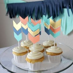 Wild and Free or Wild One themed birthday party or baby shower cupcake arrow chevron toppers. Customize in any colors! $7 a dozen