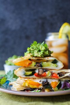 Grilled Portobello and Summer Squash Quesadillas
