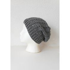 Lacy Slouch Skullcap Beanie Hat in Pewter, ready to ship. ($45) ❤ liked on Polyvore featuring accessories, hats, grey beanie, grey hat, grey beanie hat, slouchy beanie and lace hat